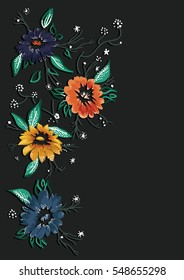 embroidery patch flowers pattern