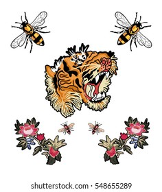 embroidery patch flowers tiger bee illustration
