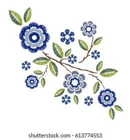 Embroidery patch vintage flowers isolated on white background.Pattern of peonies.Ethnic neckline flower,fashion wearing.For clothes,print,t-shirt,apparel and web site