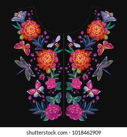 Embroidery patches flowers and insects neck t-shirt design. Fashion patches with summer floral wild nature illustration embroideries. Trendy traditional textile art on black background.
