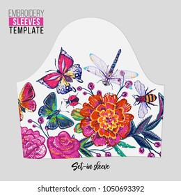 Embroidery patches flowers and insects set-in sleeve t-shirt design. Fashion patches with summer floral wild nature illustration embroideries. Trendy traditional textile art on white background.