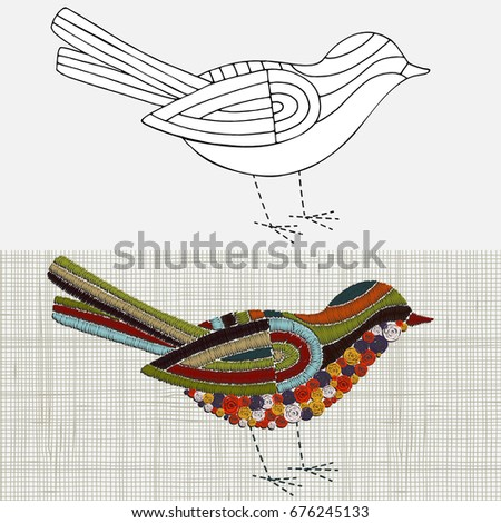 Embroidery Pattern Bird Vector Embroidery Home Stock Vector Royalty