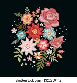 Embroidery pattern with fantasy flowers. Colorful bouquet on black background. Floral vector illustration.