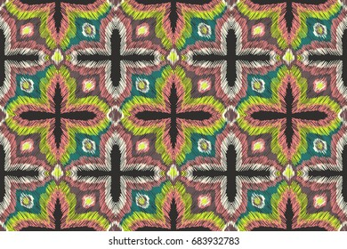 Embroidery pattern. Tribal ornament. Ethnic style. Fabric embroidery effect texture. Boho fashion. Traditional textile. Vector seamless pattern for fashion design, interior or printed products.