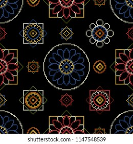 Embroidery pattern vector illustration. Bright seamless dark background with abstract flowers for wallcovering.