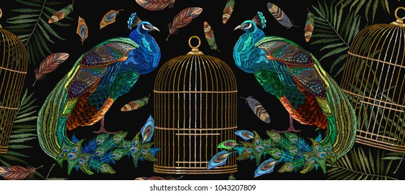 Embroidery peacocks and birds gold cage seamless pattern. Classical embroidery beautiful peacocks. Fashionable template for design of clothes