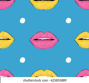 Embroidery pink and yellow lips with dots pop art seamless pattern. Stylish modern design. Perfect for trendy fashion surfaces