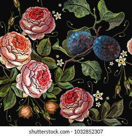 Embroidery plums and roses flowers seamless pattern. Template clothes, t-shirt design, print, renaissance style. Classical embroidery red roses and branch of plum on black background