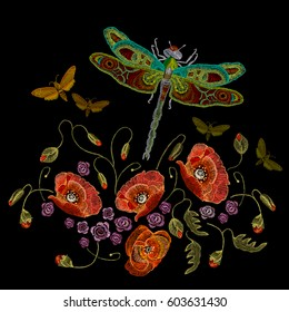 Embroidery, poppies dragonfly and butterflies vector. Classic beautiful butterflies and dragonflies, fashionable template for embroidery