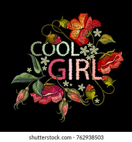 Embroidery poppies  flowers t-shirt design. Cool girl slogan. Template for clothes, textiles, t-shirt design
