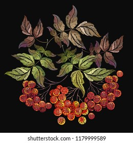 Embroidery red branches of a mountain ash berry. Fashionable retro template for design of clothes. Classical embroidery red berries of mountain ash