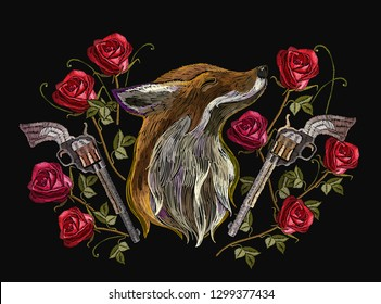 Embroidery red fox, roses and gums. Template for clothes, textiles, t-shirt design. Criminal art
