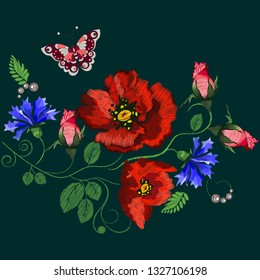 Embroidery red poppies flowers. Fashionable template, fashion design. Beautiful flowers - vector