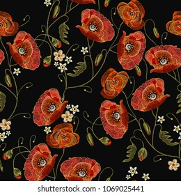 Embroidery red poppies seamless pattern beautiful flowers. Decorative floral embroidery elegant flowers poppy pattern vector