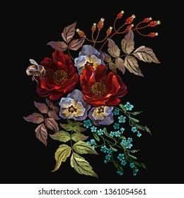 Embroidery red roses, beautiful bouquet of flowers. Spring template for clothes, textiles, t-shirt design