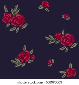 Embroidery. Red roses. Flowers and leaves. Vector seamless pattern.