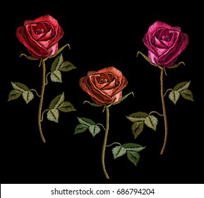 Embroidery red roses on black background. Classic embroidery red roses flowers. Template for clothes, textiles, t-shirt design vector