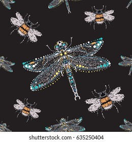Embroidery and rhinestones beautiful dragonfly and small funny bee. Fashion crystal patch with insects illustration. Seamless pattern on black background.