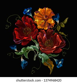 Embroidery roses and calendula gloden flowers. Summer garden art. Fashion template for clothes, textiles, t-shirt design
