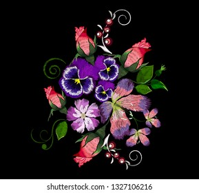 Embroidery roses and lilies, ethnic ornament for the neck, bags, jeans, shirts, T-shirts. Vintage style. Vector illustration.