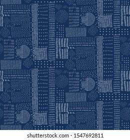 Embroidery Sampler Sashiko Kantha  Vector Pattern. Asian Needlework Seamless Background. Indigo Blue Style.  Running Hand Stitch Texture for Textile Print, Japan Decor. Simple Kimono Quilting EPS 10