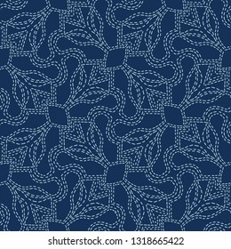Embroidery Sashiko Style. Japanese Needlework Seamless Vector Pattern. Hand Stitch Indigo Blue Line, Furoshiki Wrap Textile Print, Classic Japan Decor, Asian Backdrop. Simple Kimono Quilting Template