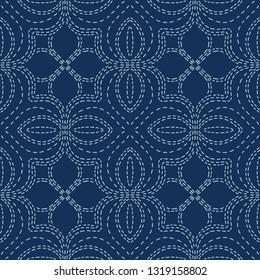 Embroidery Sashiko Style. Japanese Needlework Seamless Vector Pattern. Hand Stitch Indigo Blue Line, Furoshiki Wrap Textile Print, Classic Japan Decor, Asian Backdrop. Simple Kimono Quilting Template