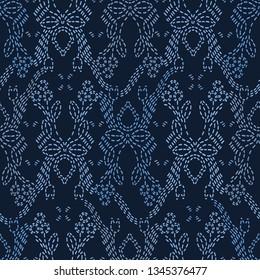 Embroidery Sashiko Style. Japanese Needlework Seamless Vector Pattern. Hand Stitch Spring Pastel Line, Furoshiki Wrap Textile Print, Modern Japan Decor, Asian Backdrop. Spring Kimono Quilting Template