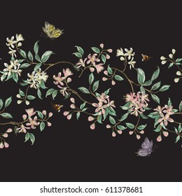 Embroidery seamless floral pattern with branch of tropical japanese flowers. Vector traditional folk cherry blossom, bees and butterflies on black background for design