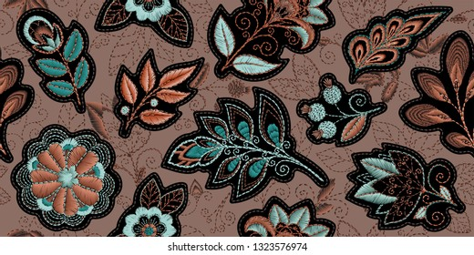 Embroidery seamless pattern with beautiful flowers. Vector handmade floral ornament on brown background. Embroidery for fashion product. Elegant tiled design, best for print fabric or papper and more.