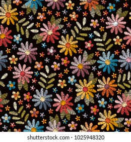 Embroidery seamless pattern with beautiful wild flowers. Summer print. Fashion design. Vector embroidered illustration.