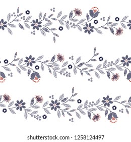 Embroidery seamless pattern with beautiful wild flowers delicate vector print  illustration design for fashion ,fabric,wallpaper,cover,web, and all prints on white