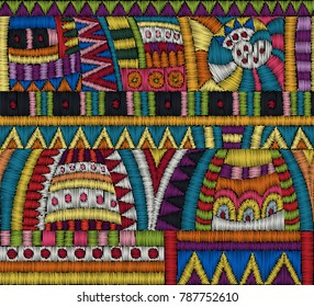 Embroidery Seamless pattern. Colorful ornament for textile, home decor, fashion, fabric pattern. Tribal, Ethnic style. Vector.