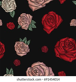 Embroidery seamless pattern with roses. Vector Flowers on black background.