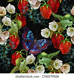 Embroidery seamless pattern. Strawberry plant with leaves, red berries, white flowers and colorful butterflies. Summer fashion template for clothes, textiles and t-shirt design. Garden art