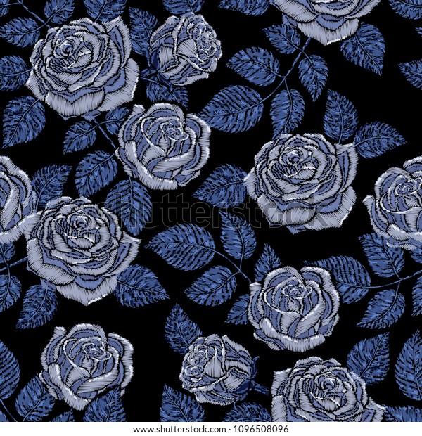 Blue Flowers Black Background Wallpaper