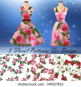 embroidery seamless rose pattens dress template stock vector