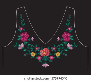 Embroidery simplified ethnic neck line floral pattern with roses and leaves. Vector symmetric traditional folk ornament with big flowers on black background for design