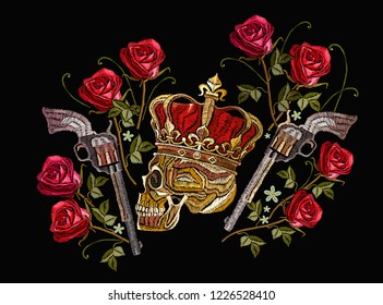 Embroidery skull in crown, crossed guns and roses. Criminal art, king of pirates and revolvers. Template for clothes, textiles, t-shirt design
