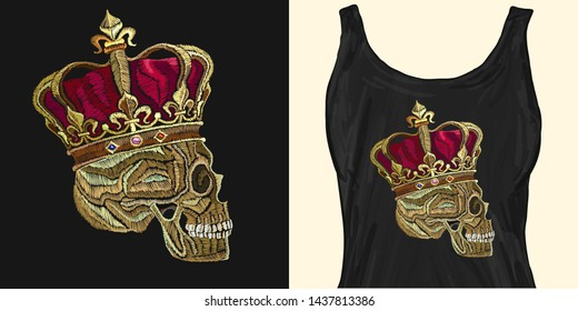 Embroidery skull in golden crown. Dead king. Trendy apparel design. Template for fashionable clothes, modern print for t-shirts, apparel art
