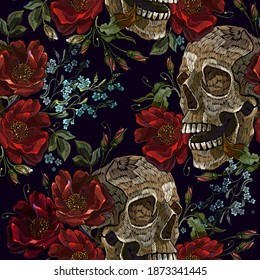 Embroidery skull and red roses seamless pattern. Halloween background. Fashion clothes template and t-shirt design. Dark gothic art