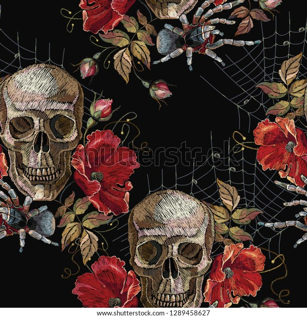 Embroidery Skull Red Roses Spider Web Stock Vector Royalty Free 1289458627