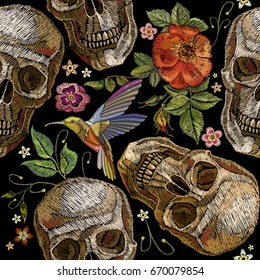 Embroidery skull and roses, humming bird and flowers seamless pattern. Dia de muertos art, day of the dead. Gothic embroidery human skulls and red roses, clothes template and t-shirt design
