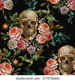 Embroidery skull and roses seamless pattern. Gothic romanntic art. Dark fairy tale clothes template and t-shirt design