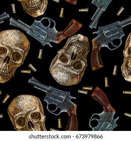Embroidery Skulls And Guns Seamless Pattern Wild West Old Revolvers Human