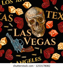 Embroidery skulls, hearts, guns, casino seamless pattern. Texas art, wild west embroidery old revolvers, red hearts and human skulls, gangster gothic background. Design of clothes