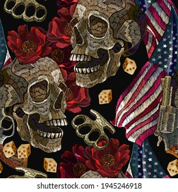 Embroidery skulls, roses flowers, brass knuckles and rippled American flag, seamless pattern. Template for clothes, t-shirt design. Street culture style. Bikers lifestyle background