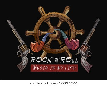 Embroidery smocking pipe, steering wheel and guns. Music art template for clothes, textiles, t-shirt design