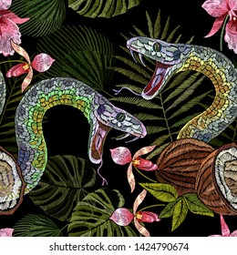 Embroidery snake, coconut and tropical orchid flowers seamless pattern. Summer jungle art. Fashion template for clothes, textiles, t-shirt design