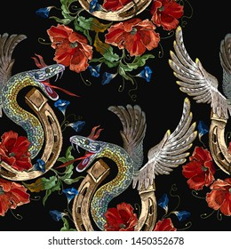 Embroidery snake with wings, red poppies and gold horseshoe seamless pattern. Renaissance style. Medieval gothic template for clothes, textiles, t-shirt design